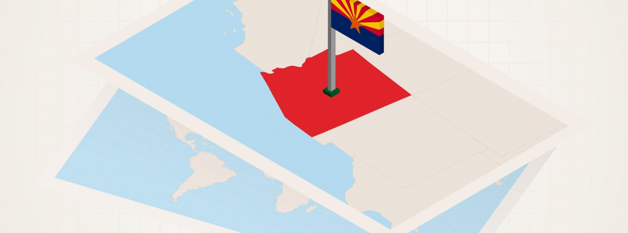 Arizona state selected on map with isometric flag of Arizona.