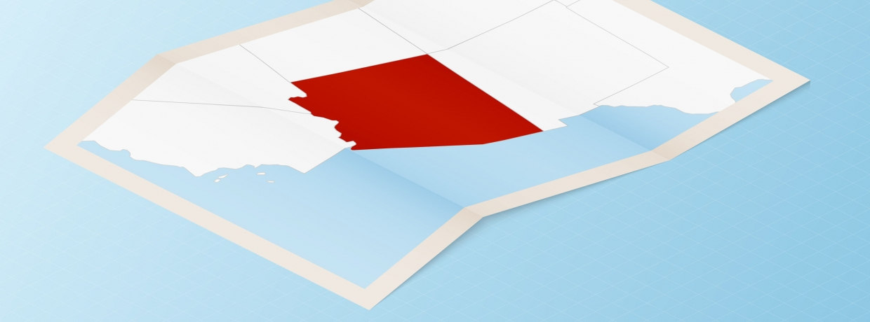 Folded paper map of Arizona with neighboring countries in isometric style on blue vector